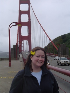 San Fran 05-  With a flower in my hair in front of the Golden Gate Bridge