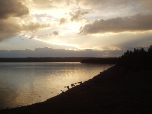 Sunset over Lake Yellowstone