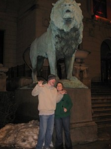 Kyle and I in front of the Art Institute