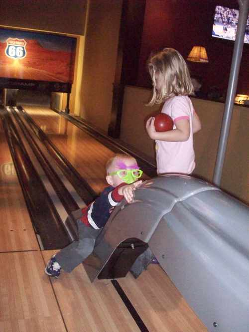 Beau and Macie mini-bowling
