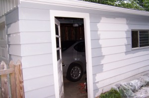 garage, during:  paint is cut in!
