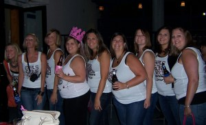 Bachelorette party, complete with homemade shirts